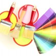 Set for painting: paint pots, brushes, palette of colors isolated on white — Foto de Stock