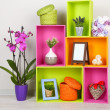 Beautiful colorful shelves with different home related objects — Stock Photo #22068123