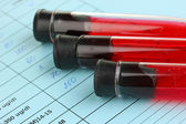 Blood in test tubes and results close up — Foto Stock
