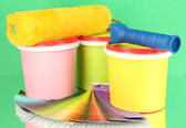 Set for painting: paint pots, paint-roller, palette of colors on green background — Stock Photo