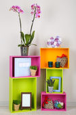 Beautiful colorful shelves with different home related objects — Foto de Stock