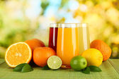Glasses of juise with leafs and fruits on table on bright background — Foto Stock