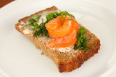 Salmon sandwich on plate, close up — Stok fotoğraf