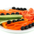 Assorted raw vegetables sticks in plate isolated on white - Foto de Stock