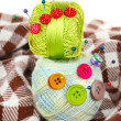 Buttons of different colors, and two tangle thread — Stock Photo #22100927