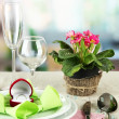 Romantic table serving on bright background - 图库照片