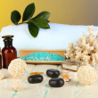 Sea spa elements on yellow background — Stock Photo
