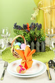 Cadre de table de pâques sur fond de couleur — Photo