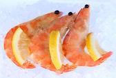 Krevety s citronem izolovaných na bílém — Stock fotografie