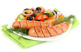 Grilled sausage with fresh salad isolated on white — Stok fotoğraf