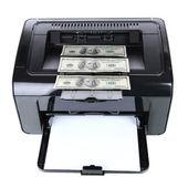 Printer printing fake dollar bills isolated on white — Stock Photo
