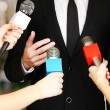 Royalty-Free Stock Photo: Conference meeting microphones and businessman