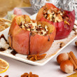 Baked apples on plate close up — Stock Photo #22372789