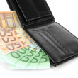 Stock Photo: Euro in wallet isolated on white