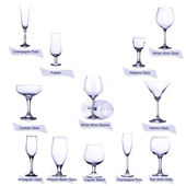 Collection of empty glasses with designation isolated on white background — Stock Photo