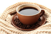Tazza di caffè con close-up sciarpa — Foto Stock