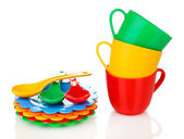 Children's plastic tableware isolated on white — Stock Photo