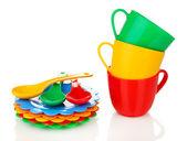 Children's plastic tableware isolated on white — Stock Photo