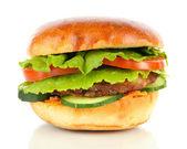 Big and tasty hamburger isolated on white — Stock Photo