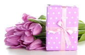 Beautiful bouquet of purple tulips and gift box, isolated on white — Stock Photo