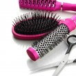 Comb brushes and Hair cutting shears, isolated on white - Stok fotoğraf