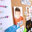 Board with evidence in case of missing children — Stock Photo