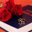Wedding rings with roses on bible on red background — Stock Photo #22385747