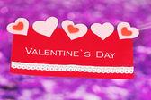 紫色背景上情人节贺卡 — 图库照片