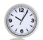 Round office clock isolated on white — Stock Photo