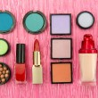 Decorative cosmetics on pink background — Stock Photo #22415277