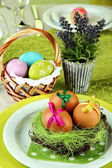 Easter table setting, close up — Stockfoto