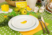 Serving Easter table close-up — Stock Photo