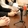 Stock Photo: Conference meeting microphones