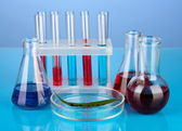 Test-tubes and green leaf tested in petri dish, on color background — Stock Photo