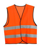 Orange vest, isolated on black — Stock fotografie