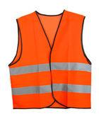 Oranžová vesta, izolované na černém pozadí — Stock fotografie