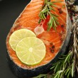 Fresh salmon steak on pan, close up — Stock Photo
