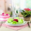 Stock Photo: Romantic table serving on bright background