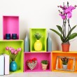 Beautiful colorful shelves with different home related objects — Stock Photo #22529517