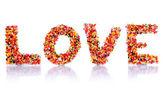 Słowo miłość na białym tle — Zdjęcie stockowe