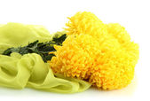 Bouquet of bright yellow chrysanthemums flowers on cloth, isolated on white — Stock Photo