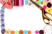 缝纫配件和面料特写 — 图库照片