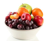 Bowl with fruits, isolated on white — Stock Photo