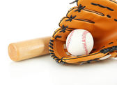 Baseball glove, bat and ball isolated on white — Stock Photo