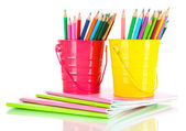 Colorful pencils with copybooks isolated on white — Stock Photo