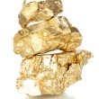 Stock Photo: Golden nuggets isolated on white