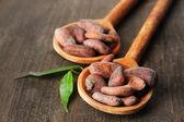 Fèves de cacao avec des feuilles en cuillères sur fond en bois — Photo