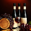 Composition of wine, wooden barrel and  grape, on dark red background - Stock Photo