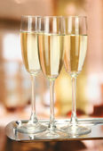 Corporate party: sparkling champagne glasses on tray — Zdjęcie stockowe