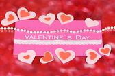 Cartolina d'auguri per San Valentino su priorità bassa rossa — Foto Stock